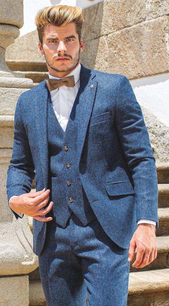 6dbff0cd685c Blue Herringbone Tweed Slim Fit Suit - Menshire at Haig-Harrison s