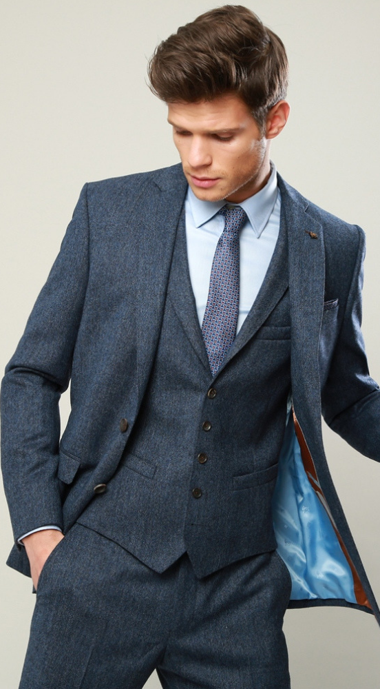 7349f6e4fac2e1 Magee Blue Salt and Pepper Tweed Tailored Fit Suit - Menshire at ...